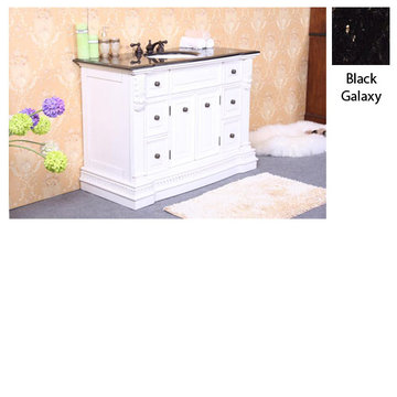 Legion Furniture 48 Inch Sophie White Vanity With Black Galaxy Top