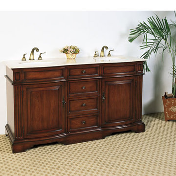 Legion Furniture 60 1/2 Inch Cream Marble Sink Chest Vanity