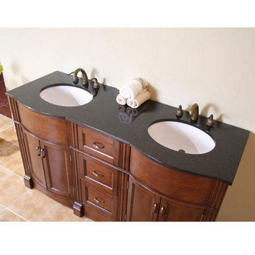 Legion Furniture 60 Inch Abigail Vanity With Absolute Black Top