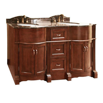 Legion Furniture 60 Inch Abigail Vanity With Dark Tan Brown Top