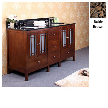 Legion Furniture 60 Inch Amanda Vanity With Baltic Brown Granite Top