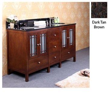 Legion Furniture 60 Inch Amanda Vanity With Dark Tan Brown Granite Top