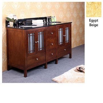 Legion Furniture 60 Inch Amanda Vanity With Egypt Beige Granite Top
