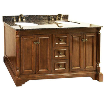 Legion Furniture 60 Inch Amelia Vanity With Dark Tan Brown Top