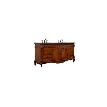 Legion Furniture 72 Inch Brown Granite Top Double Sink Vanity