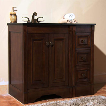 Legion Furniture Christine 36 Inch Dark Walnut Vanity With Absolute Black Top