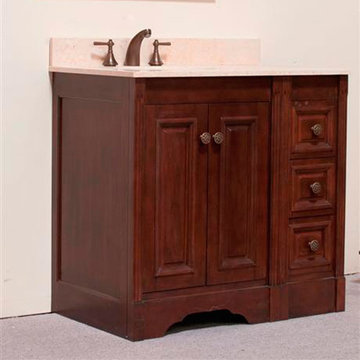 Legion Furniture Christine 36 Inch Dark Walnut Vanity With Egypt Beige Top