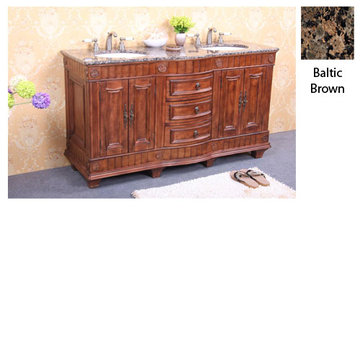 Legion Furniture Christine 60 Inch Double Sink Vanity With Baltic Brown Top