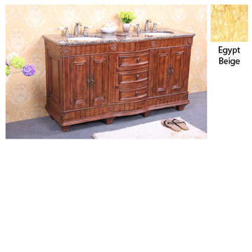 Legion Furniture Christine 60 Inch Double Sink Vanity With Egypt Beige Top