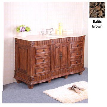 Legion Furniture Christine 60 Inch Single Sink Vanity With Baltic Brown Top