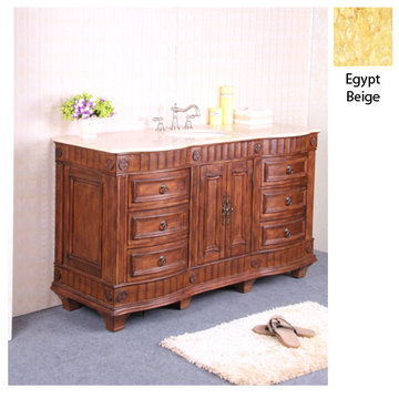 Legion Furniture Christine 60 Inch Single Sink Vanity With Egypt Beige Top