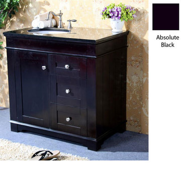 Legion Furniture Clarissa 36 Inch Espresso Vanity With Absolute Black Top