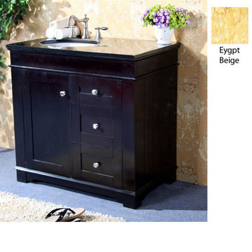 Legion Furniture Clarissa 36 Inch Espresso Vanity With Egypt Beige Top