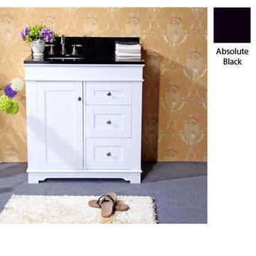 Legion Furniture Clarissa 36 Inch White Vanity With Absolute Black Top