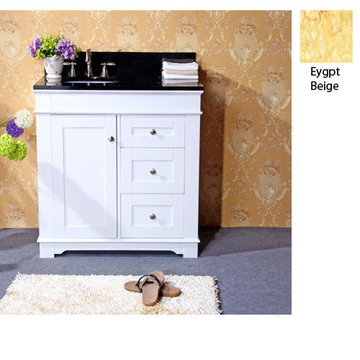 Legion Furniture Clarissa 36 Inch White Vanity With Egypt Beige Top