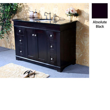 Legion Furniture Clarissa 48 Inch Espresso Vanity With Absolute Black Top