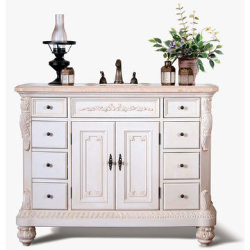 Legion Furniture Cream Marble Sink Chest Vanity
