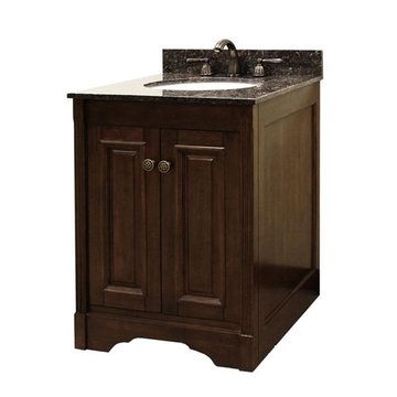Legion Furniture Grace 24 Inch Dark Walnut Vanity With Dark Tan Brown Top