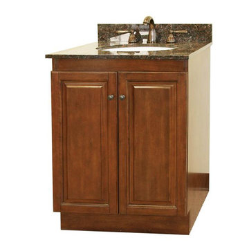 Legion Furniture Grace 24 Inch Light Walnut Vanity With Dark Tan Brown Top