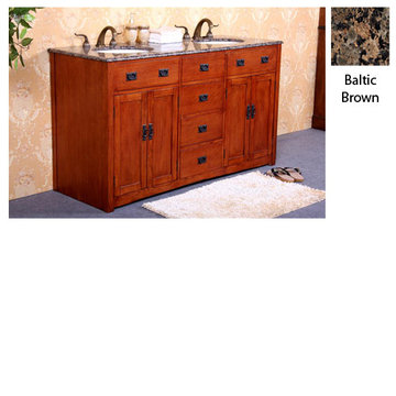 Legion Furniture Jennifer Double Sink Vanity With Baltic Brown Top