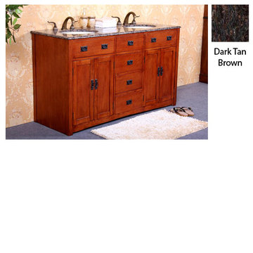 Legion Furniture Jennifer Double Sink Vanity With Dark Tan Brown Top