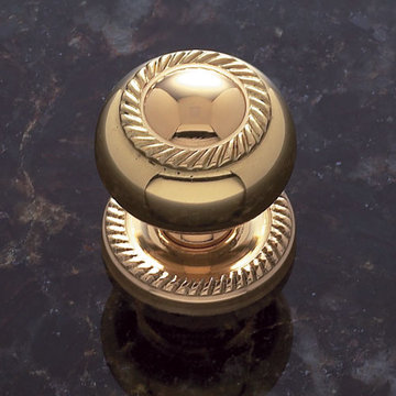 Jvj Hardware Classic Collection Rope 1 1/4 Inch Knob With Backplate - Solid Brass