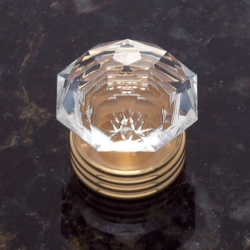 Jvj Hardware Classic Collection Round Crystal Knob With Base