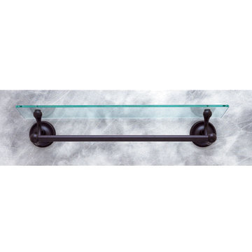 Jvj Hardware Paramount Series Glass Bathroom Shelf With Towel Bar