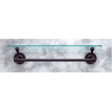 Jvj Hardware Prestige Series Glass Bathroom Shelf With Towel Bar