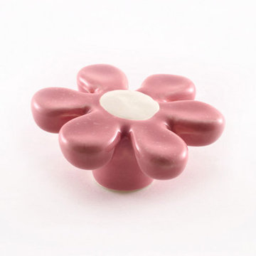 Nifty Nob Sixties Pink And White Flower Knob