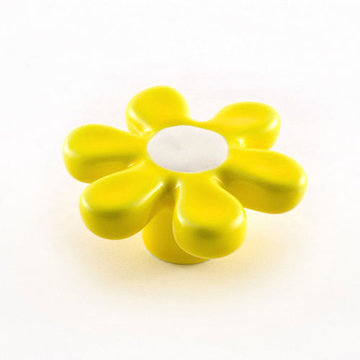 Nifty Nob Sixties Yellow And White Flower Knob