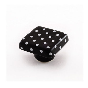 Nifty Nob White Dots Square Cabinet Knob