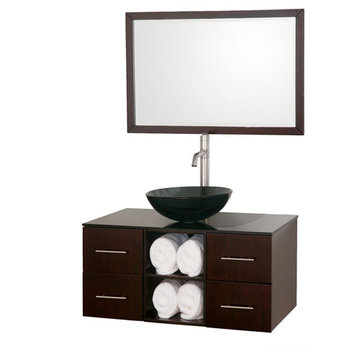 Wyndham Abba 36 Inch Vanity With Matching Mirror And Smoke Glass And Sink