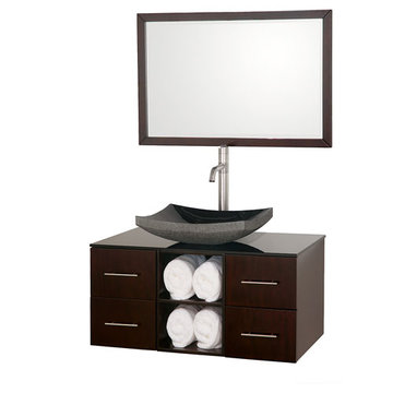 Wyndham Abba 36 Inch Vanity With Smoke Glass Top, Black Sink And Mirror