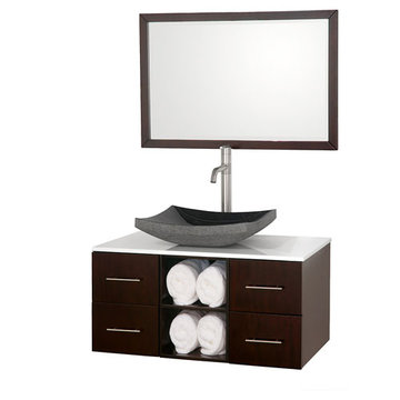 Wyndham Abba 36 Inch Vanity With White Glass Top, Black Sink And Mirror