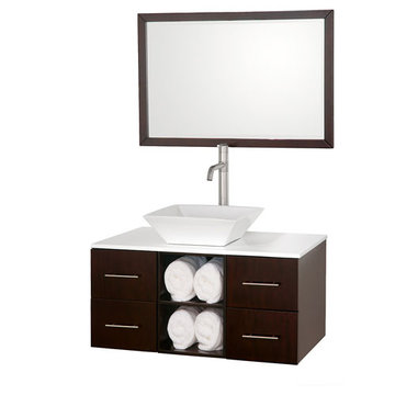 Wyndham Abba 36 Inch Vanity With White Glass Top, Porcelain Sink And Mirror