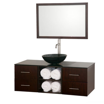 Wyndham Abba 48 Inch Vanity With Matching Mirror And Smoke Glass And Sink