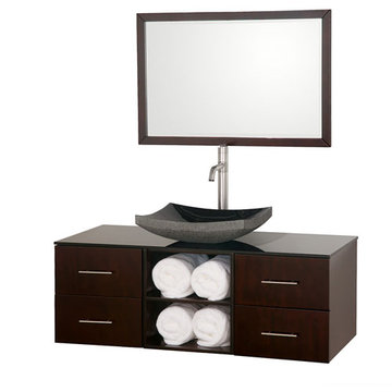 Wyndham Abba 48 Inch Vanity With Smoke Glass Top, Black Sink And Mirror