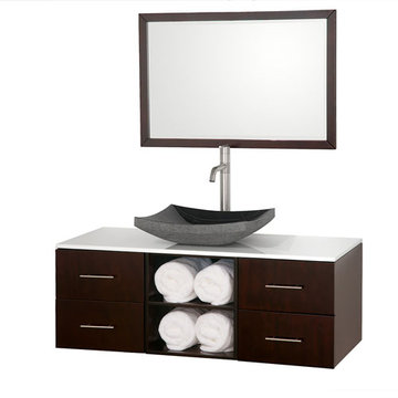Wyndham Abba 48 Inch Vanity With White Glass Top, Black Sink And Mirror