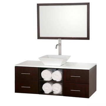 Wyndham Abba 48 Inch Vanity With White Glass Top, Porcelain Sink And Mirror