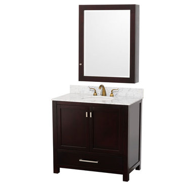 Wyndham Abingdon 36 Inch Espresso Vanity With Carrera Marble And Medicine Cabinet