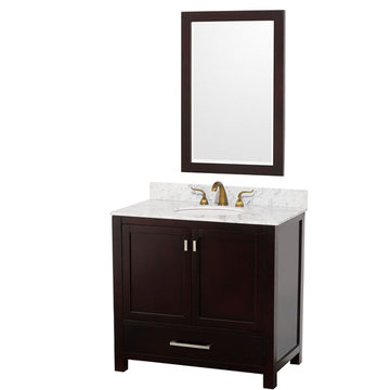 Wyndham Abingdon 36 Inch Espresso Vanity With Carrera Marble And Mirror