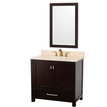 Wyndham Abingdon 36 Inch Espresso Vanity With Ivory Marble And Mirror