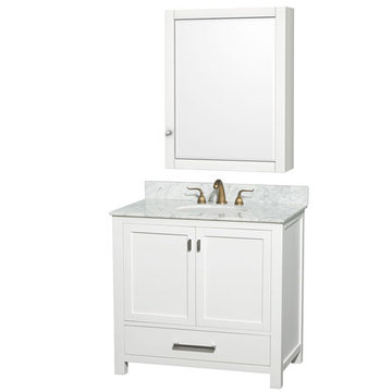 Wyndham Abingdon 36 Inch White Vanity With Carrera Marble And Medicine Cabinet