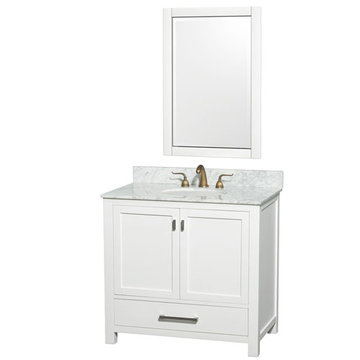 Wyndham Abingdon 36 Inch White Vanity With Carrera Marble And Mirror