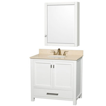 Wyndham Abingdon 36 Inch White Vanity With Ivory Marble And Medicine Cabinet