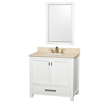 Wyndham Abingdon 36 Inch White Vanity With Ivory Marble And Mirror