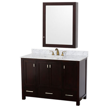 Wyndham Abingdon 48 Inch Espresso Vanity With Carrera Marble And Medicine Cabinet