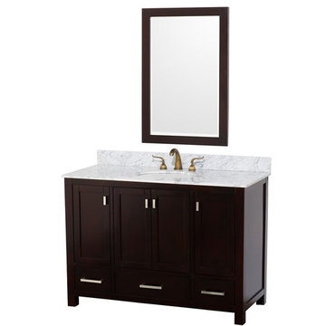 Wyndham Abingdon 48 Inch Espresso Vanity With Carrera Marble And Mirror