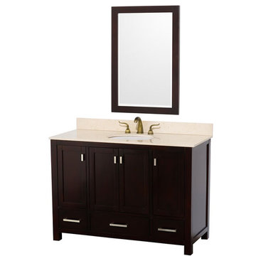 Wyndham Abingdon 48 Inch Espresso Vanity With Ivory Marble And Mirror